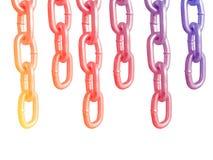 Wieszać łańcuchy, odosobnionych na białym tle obraz stock