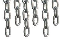 Wieszać łańcuchy, odosobnionych na białym tle Obrazy Stock
