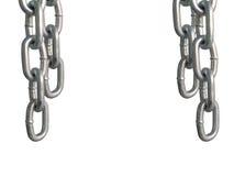 Wieszać łańcuchy, odosobnionych na białym tle Zdjęcie Stock