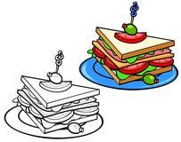 Świetlicowa kanapka z oliwkami royalty ilustracja