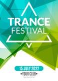 Świetlicowy elektroniczny transu festiwalu muzyki plakat Muzykalna wydarzenia DJ ulotka Dyskoteka transu dźwięk Nocy przyjęcie Fotografia Stock