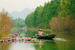 Wietnam dziewczyna w tradycyjnej kostiumowej wioślarskiej łodzi dla podróży obraz stock