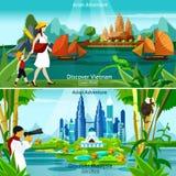 Wietnam I Malezja podróży składy ilustracja wektor