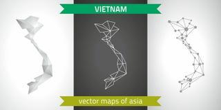 Wietnam kolekcja wektorowego projekta map, szarej, czarnej i srebnej kropka konturu mozaiki 3d mapa nowożytna, Zdjęcia Stock