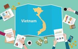 Wietnam kraju narodu wzrostowa drużyna dyskutuje z fałd map widokiem od wierzchołka royalty ilustracja