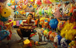 Wietnam latarniowa ulica, na wolnym powietrzu rynek Zdjęcia Stock