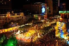 Wietnam: Nowego roku świętowanie zaczyna w Chi Ming przy Eden miejscem blisko opery Ho Od Rex dachu tam jest najlepszy widok zdjęcia royalty free