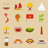 Wietnam podróży ikony ustawiać, mieszkanie styl ilustracji
