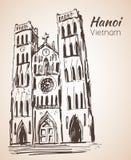 WIETNAM St Joseph ` s katedra w Hanoi nakreślenie ilustracja wektor
