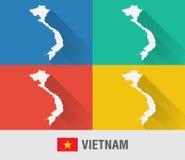 Wietnam światowa mapa w mieszkanie stylu z 4 kolorami Fotografia Stock