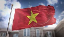 Wietnam Zaznacza 3D rendering na niebieskie niebo budynku tle Obrazy Royalty Free