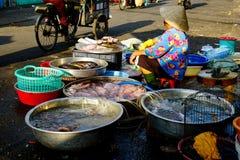 Wietnamczyk kobiety sprzedawania ryba na ulicie obrazy royalty free