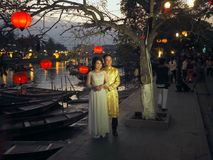 Wietnamscy Ślubni Tradycyjni kostiumy, Hoi, Wietnam fotografia royalty free