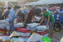 Wietnamscy ludzie pracuje przy Tęsk Hai rybim rynkiem obraz royalty free