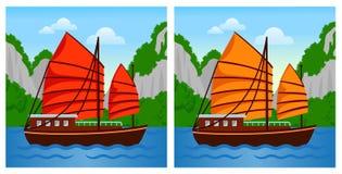 Wietnamska dżonki łódź w Halong zatoce ilustracja wektor