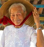 Wietnamska kobieta mówi cześć Zdjęcie Royalty Free