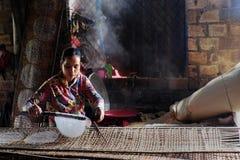 Wietnamska kobieta robi ryżowemu papierowi obrazy royalty free