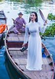 Wietnamska kobieta z Ao Dai suknią Obrazy Royalty Free