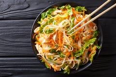 Wietnamska kurczak sałatka z ryżowymi kluskami, marchewkami i ziele, ma Obraz Stock