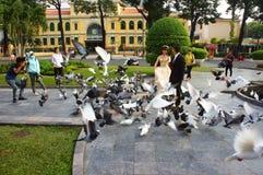 Wietnamska panna młoda, ślubna fotografia, ho chi minh miasto Zdjęcie Stock