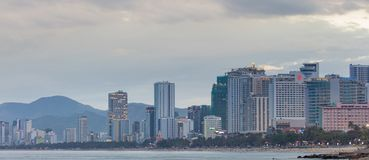 Wietnamska Wakacyjnego kurortu Nha Trang plaży scena zdjęcia royalty free