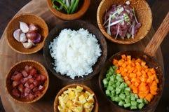 Wietnamski jedzenie, smażący ryż, Azjatycki łasowanie Zdjęcia Royalty Free