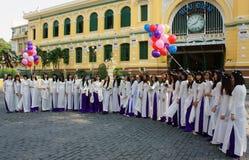 Wietnamski uczeń, tradycyjna suknia, ao Dai, Ho Chi Minh miasto obrazy royalty free