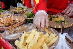 Wietnamski uliczny jedzenie, ryżowego papieru rolki Zdjęcia Stock