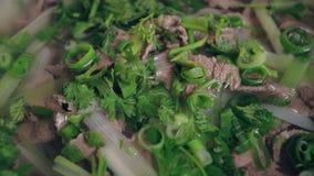 Wietnamski zupny Pho Bo z chili pieprzem zdjęcie wideo