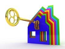 Świetny 3d wizerunek odosobniony klucz sen dom Zdjęcie Stock