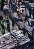Wietrzejąca ławka zakrywająca w liszaju Zdjęcia Royalty Free