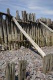 Wietrzejąca drewniana Porlock plaża Zdjęcie Royalty Free