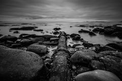 Wietrzejąca drymba ciie skalistą linię brzegową w losie angeles Jolla, Kalifornia Fotografia Royalty Free