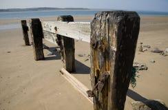 Wietrzejący drewno na plaży Zdjęcia Royalty Free
