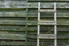 Wietrzeję drewniany drabinowy opierać na drewnianych deseczkach Fotografia Stock