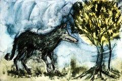 Wietrzejący dziki wilk w lesie Obrazy Royalty Free