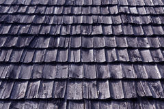 Wietrzejąca błękitna drewniana dachówkowego dachu tekstura Fotografia Stock