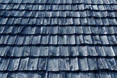 Wietrzejąca błękitna drewniana dachówkowego dachu tekstura Zdjęcia Royalty Free