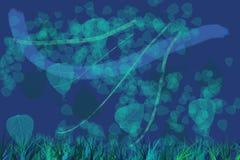 Wietrzny dzień błękit - tła liście dmucha w wiatrze przeciw zmrokowi abstrakt - royalty ilustracja