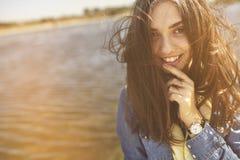 Wietrzny dziewczyna portret Obraz Royalty Free