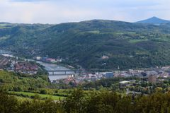 Wiev al centro della città Usti nad Labem dalla torre dell'allerta di Erbens Immagine Stock Libera da Diritti