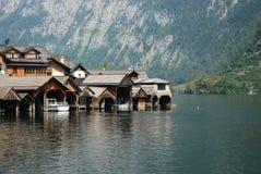Wiev bonito do lago do hallstatt imagens de stock