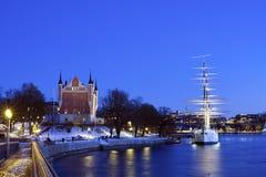 Wiev merveilleux de nuit d'hiver de la Chambre et de l'af ch d'Amirauté Photos libres de droits