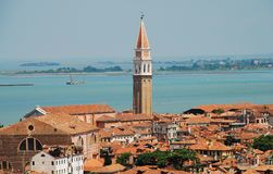 Wiev of Venezia with San Francesco della Vigna bell tower. From San Marco bell tower royalty free stock photography