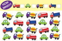 Wieviele Gegenstände des Transportes Lernspiel für Kinder stock abbildung