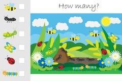 Wievielen Spiel, Lichtung z?hlend mit Insekten f?r Kinder, p?dagogisches Mathe f?r die Entwicklung des logischen Denkens eine Arb stock abbildung