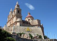 Wiew ландшафта церков на холме в Melieha в Мальте Стоковое Изображение