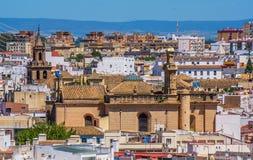 Wiew miasto Seville od Metropol Parasol Seville ono Rozrasta się, Seville, Andalusia, Hiszpania zdjęcie royalty free