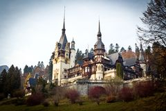 Peles Castle from Sinaia. Wiew from Peles Museum, Sinaia. Castle kingdom residence in Romania Stock Images