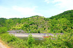 Wiew of the rhine in deutschland. Wiew of the rine in deutshland with green mountain Royalty Free Stock Photo